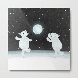 Polar Bears Playtime Metal Print