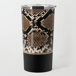 Modern black brown gold snake skin animal print Travel Mug
