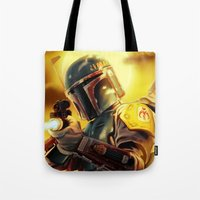 boba fett Tote Bags featuring Boba Fett by Andre Horton