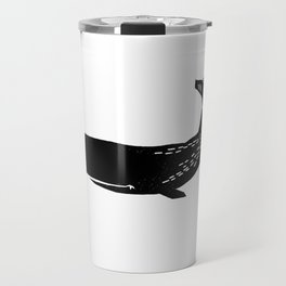 Whale sperm whale ocean life black and white linocut minimal art pattern Travel Mug