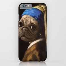 pug with a pearl earring iPhone 6 Slim Case