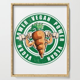 Vegan Power Workout Muscle Carrot Gym Work Serving Tray