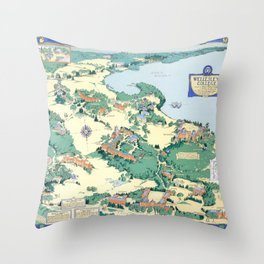 WELLESLEY College map MASSACHUSETTS dorm decor graduate Throw Pillow