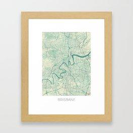 Brisbane Map Blue Vintage Framed Art Print