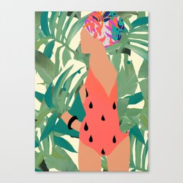 Jungle Pop! Pacific Melon Textile Collage Canvas Print