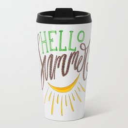 Hand Drawn Lettering Composition Hello Summer Travel Mug