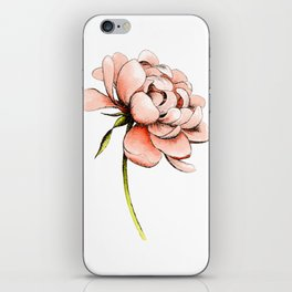 Coral Pink Peony iPhone Skin
