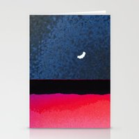 moon phase Stationery Cards featuring New Moon - Phase III by Marina Kanavaki