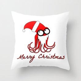 Santa Octopus Throw Pillow