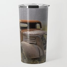 Vintage Chevy Pickup for Sale in a Field of Grass Travel Mug
