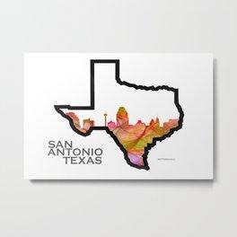 Texas State Map with San Antonio Skyline Metal Print