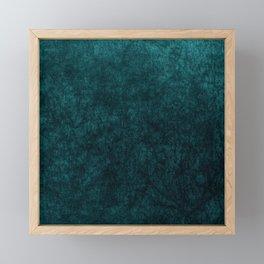 Teal Blue Velvet Texture Framed Mini Art Print