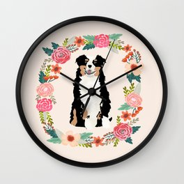 australian shepherd tricolored floral wreath dog gifts pet portraits Wall Clock