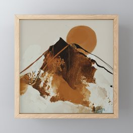 abstract mountains, rustic orange sunrise Framed Mini Art Print