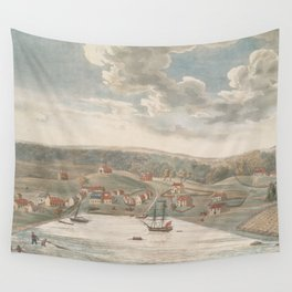 Vintage Pictorial Map of Baltimore MD in 1752 Wall Tapestry