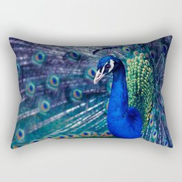 Blue Peacock Rectangular Pillow