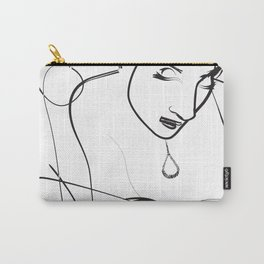 Black and White Drawing Sketch Women Reading a book Carry-All Pouch