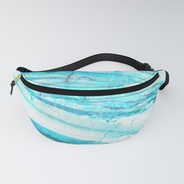 White Marble with Blue Green Veins Fanny Pack