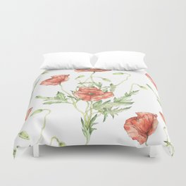 Fragile Beauty - Watercolor Poppies Duvet Cover
