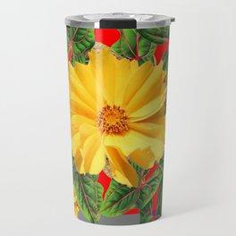 GREY & RED YELLOW COREOPSIS FLORAL ART DESIGN Travel Mug