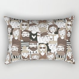 Crowd Pattern Rectangular Pillow