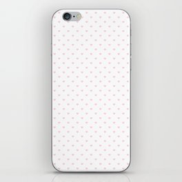 Light Soft Pastel Pink Mini Love hearts on White iPhone Skin