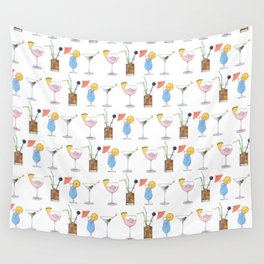 Happy Hour Cocktails Wall Tapestry