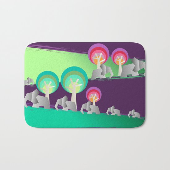 Walking With Elephants Bath Mat