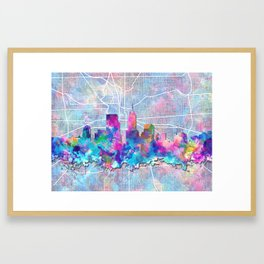 indianapolis city skyline watercolor 2 Framed Art Print