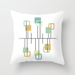 Mid Century Modern Abstract Pattern Shape Throw Pillow