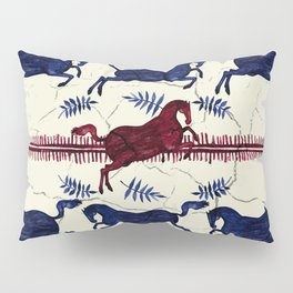 Ancient Greek Fresco - Navy & Red Pillow Sham