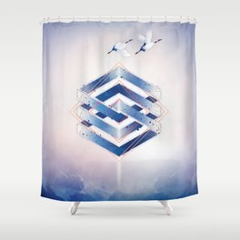 Indigo Hexagon :: Floating Geometry Shower Curtain