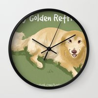 golden retriever Wall Clocks featuring Golden Retriever by Bark Point Studio