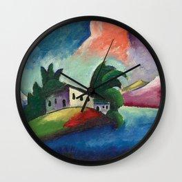 Tuscany, Italy rolling hills and vineyards landscape painting by Ilya Mashkov Wall Clock