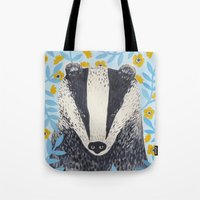 british Tote Bags featuring British Badger by stephanie cole DESIGN