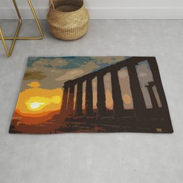 Sunset at Sounion Cape Rug
