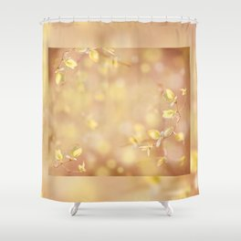 Many young spring leaves on blurred background Shower Curtain