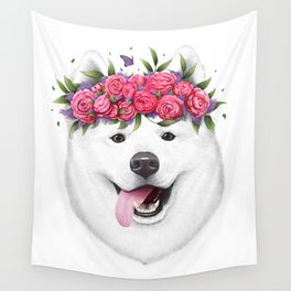 Samoyed with flowers Wall Tapestry