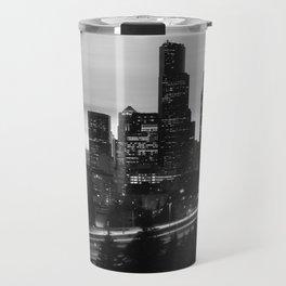 Seattle Skyline Sunset City - Black and White Travel Mug