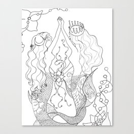 Two mermaids, many pearls Canvas Print
