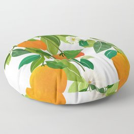 Oranges and Blossoms II / Tropical Fruit Illustration Floor Pillow