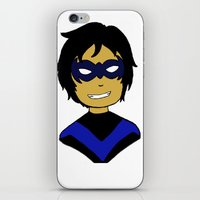 nightwing iPhone & iPod Skins featuring Robin I - Nightwing by Tristan Sites