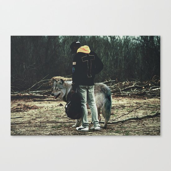 Kid with wolf Canvas Print