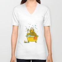 bath V-neck T-shirts featuring Bird Bath! by HFDee
