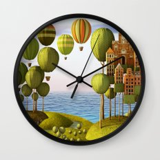 City in the Sky_Lanscape Format Wall Clock