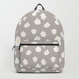 Daisy Print Grey Backpack