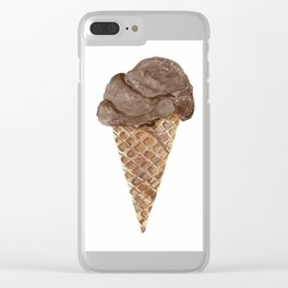 Watercolor Chocolate Ice Cream Waffle Cone Clear iPhone Case