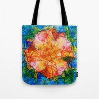 quibe Tote Bags featuring Flower III by Magdalena Hristova