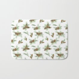 pine branches and cones pattern Bath Mat