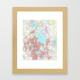 Lakeland Florida Map (1975) Framed Art Print